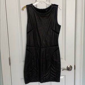 Leather front and knit back dress. NBW